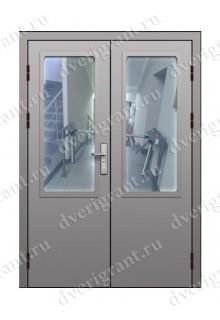 Двустворчатая противопожарная дверь с остеклением EI-60 (ДПМО-2-60)