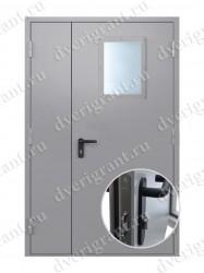 Двустворчатая противопожарная дверь с остеклением EI-60 (02-ДПМО-2-60)